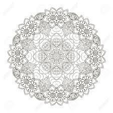 Vecteur De Mandala Noir Blanc Monochrome Ornement Indien Ethnique