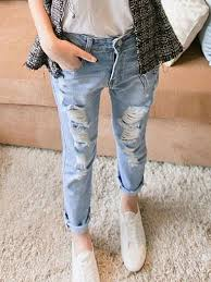 Latest Style Hole Worn Out Smart Girls Jeans