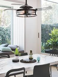 Retractable Blade Ceiling Fan With Led Light Dining Room