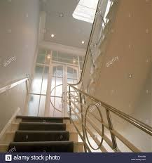 Chrome Banisters On Thirties Staircase Stock Photo, Royalty Free ... Elegant Glass Stair Railing Home Design Picture Of Stairs Loversiq Staircasedesign Staircases Stairs Staircase Stair Classy Wooden Floors And Step Added Staircase Banister As Glassprosca Residential Custom Railings 15 Best Stairboxcom Staircases Images On Pinterest Banisters Inspiration Cheshire Mouldings Marble With Chrome Banisters In Modern Spanish Villa Looking Up At An Art Deco Ornate Fusion Parts Spindles Handrails Panels Jackson The 25 Railing Design Ideas
