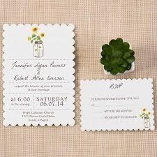 Inexpensive Mason Jars Themed Rustic Sunflower Wedding Invitation Cards Scallop Shaped Version EWIs355