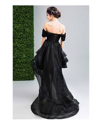 black ball gown off the shoulder high low organza formal dress