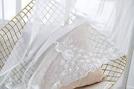 m w dasdesign gardinenschal transparent stoff ösenschal wohnzimmer schlafzimmer pfau motiv stickerei feder stores sonnen und sichtschutz 140 x 245 cm