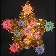 6 Lighted Gold Tinsel Star Christmas Tree Topper