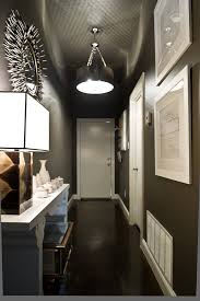 narrow hallway contemporary with sloped ceiling