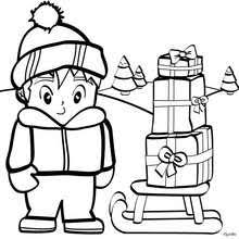 Kids Teddy Bear And Toys Boy Collecting Christmas Presents Coloring Page