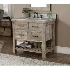 Rustic Style Carrara White Marble Top 36 Inch Bathroom Vanity