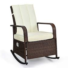 Tangkula Outdoor Wicker Rocking Chair, Modern Rattan Chair With Cushioned  Seating And Back, Auto Adjustable Rattan Reclining Chair, Space Saving ...