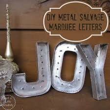 Christmas JOY DIY} Metal Salvage Marquee Letters in Gold
