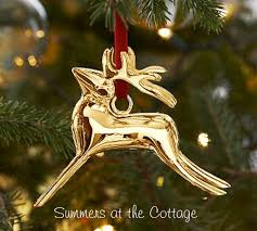 POTTERY BARN REINDEER GOLD CHRISTMAS TREE ORNAMENT GOLD DEER