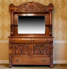 Tiger Oak Serpentine Dresser by Antique Tiger Oak Sideboard Buffet With Beveled Mirror Ebth