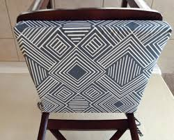 French Script Chair Cushions by Geometric Print Seat Cushion Cover Kitchen Chair Pad Gunmetal