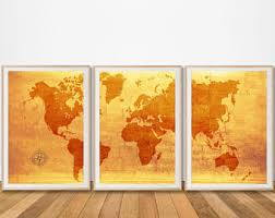 Pretty Looking Antique Wall Art With Etsy World Map Canvas Set Of 3 Prints Piece Print Poster Painting Extra Large Rustic Ideas Decor Metal