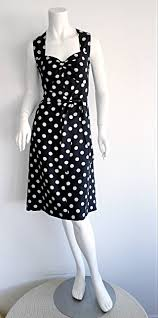 1980s saint laurent rive gauche navy blue and white polka dot