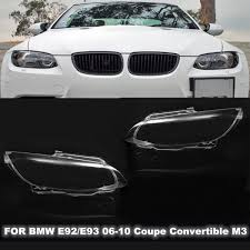 Pair Headlight Lamp Lens Cover Shell For BMW E92 E93 M3 Coupe Cabrio