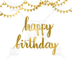 Gold Happy birthday lettering with flag garlands Royalty Free
