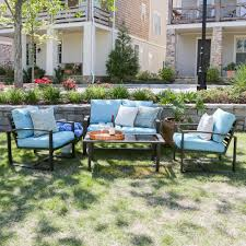 Patio Furniture Conversation Sets Home Depot by Jasper 4 Piece Aluminum Patio Conversation Set With Green Cushions