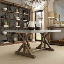 HomeHills Ellary Rustic Pine Concrete Topped Trestle Base Dining Table