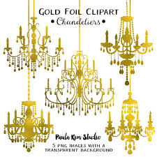 Gold Foil Chandelier Clipart Wedding Clip Art Instant Download Commercial Use