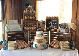 Rustic Barn Wedding Cake And Cupcake Display Table