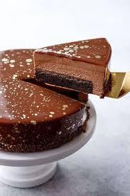 nutella brownie mousse cake with milk chocolate mirror glaze