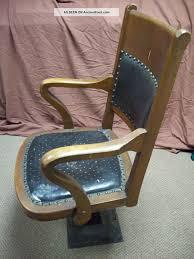 Milwaukee Chair Co. Antique Jury Box Chair Oak Iron Pedestal Swivel ...