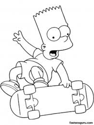 Printable Cartoons Simpson Bart Is Skating Coloring Pages