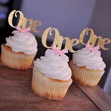 Amazon One Cupcake Toppers With Baby Pink Bows 12CT Gold First Birthday Decorations Handmade