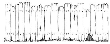 Halloween Fence Black White Clipart