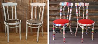 before & after shabby chic fabric wrapped chair make over