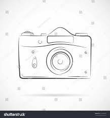 Illustration Line Vintage Camera Outline Icon Vector Stock Cartoon Grayscale
