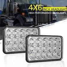 100 Semi Truck Parts And Accessories 2Pcs 4x6 LED Headlights Peterbilt Western Star Kenworth