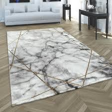 teppich wohnzimmer kurzflor modernes abstraktes muster marmor optik grau gold grösse 200x290 cm