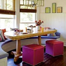 Colorful Breakfast Nook Decorating Ideas With Half Curved Table And Fuchsia Benches Purple Window Seat