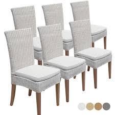 esszimmer stühle rattanstühle wintergarten cardine 6 stück weiß mit ohne sitzkissen leinen weiß
