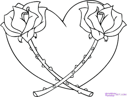 Coloring Book Pages Of Roses And Hearts Heart How Draw Rose Step Pictures With Wings Halo