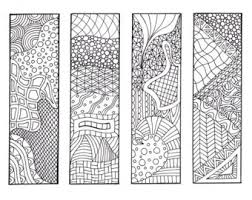 Zendoodle Bookmarks DIY Zentangle Inspired Printable Coloring Digital Download Sheet 1
