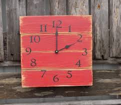 Rustic Red Wall Clock, Barn Clock, Primitive Clock, Pallet Wood ... Rustic Wall Clock Oversized Oval Roman Numeral 40cm Pallet Wood Diy Youtube Pottery Barn Shelves 16 Image Avery Street Design Co Farmhouse Clocks And Fniture Best 25 Large Wooden Clock Ideas On Pinterest Old Wood Projects Reclaimed Home Do Not Use Lighting City Reclaimed Barn Copper Pipe Round Barnwood Timbr Moss Clock16inch Diameter Products