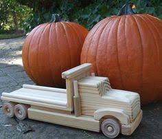 large log truck wood toy amish handmade tractor trailer made in