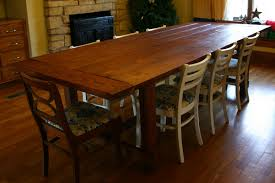 FurnitureWarm Rectangle Brown Varnished Wood Rustic Farmhouse Table Design Ideas With Cream Laminated