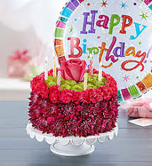 Birthday Wishes Flower Cake™ Purple