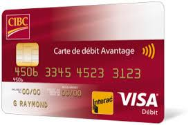 plafond debit carte visa carte de débit avantage cibc banque cibc