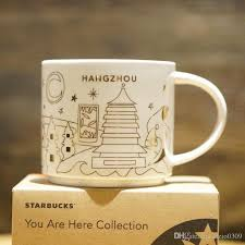 Authentic Starbucks YAH HangZhou City Mug Christmas Collection Vision 14oz Golden Outline Ceramics Coffee Cup Gift Box