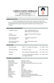 Sample Personal Information In Resume Examples Of
