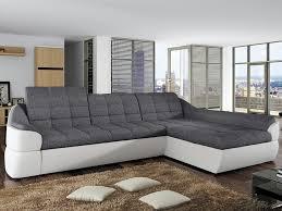 canapé d angle droit farez pas cher en tissu et simili gris blanc