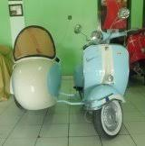 Colors White And Blue Vespa Sidecar Right Side Lightblue Front View
