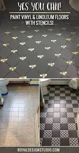 Tiling A Bathroom Floor Over Linoleum by Paint Vinyl U0026 Linoleum With Floor Stencils 8 Diy Decor Ideas