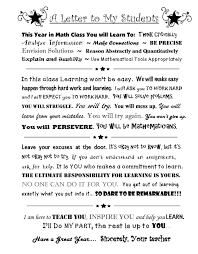 This A Letter To My Students for the first page in their