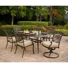 Home Depot Outdoor Dining Chair Cushions by Hanover Traditions 7 Piece Patio Outdoor Dining Set With 4 Dining