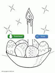 Easter Eggs And Candle Christian Coloring Sheet